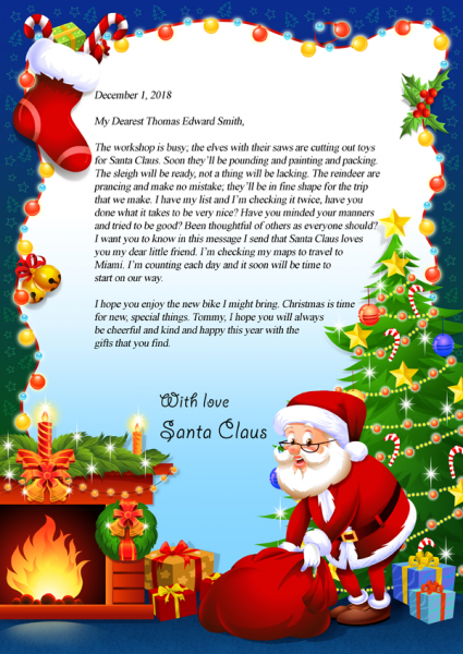 Letter from santa claus mynameinastory personalized letter from santa spiritdancerdesigns Gallery